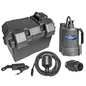 Superior Pump 92900 Powered Battery Back Up Sump Pump With Tethered Switch
